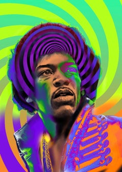 Jimi Hendrix original 3d moving image artwork pexi glass unique signed colourful