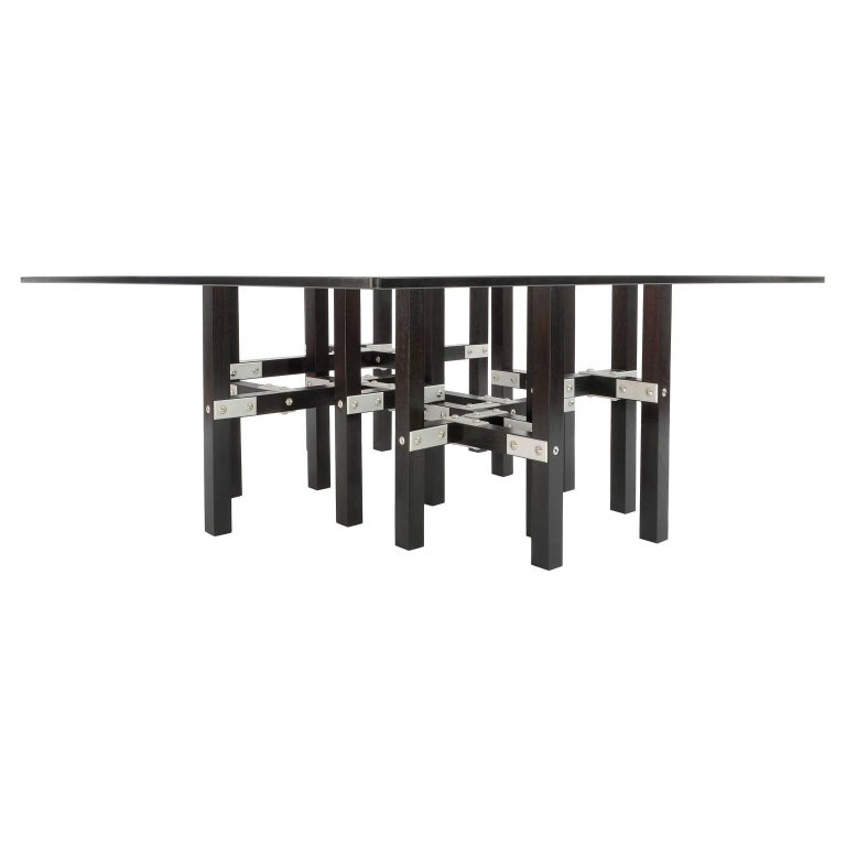 American Modern Industrial Coffee Table with Glass Top Metal and Black Wood For Sale