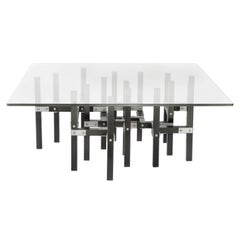Metis, Modern Industrial Coffee Table with Glass Top Metal and Black Wood
