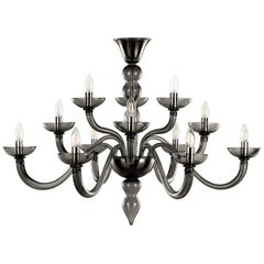 Italian Chandelier 12 arms, 3 levels, Dark Grey Murano Glass by Multiforme