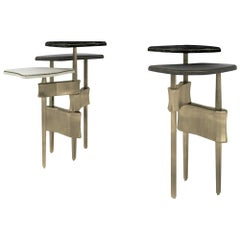 Metropolis 2-Top Side Table in Shagreen, Black Pen Shell and Brass by Kifu Paris