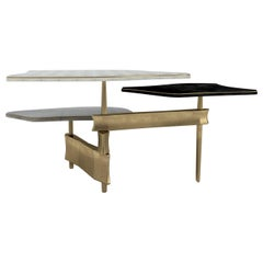 Metropolis 3-Top Coffee Table in Shagreen, Black Pen Shell & Brass by Kifu Paris