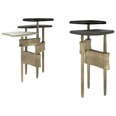 Metropolis 3-Top Side Table in Shagreen, Black Pen Shell & Brass by Kifu Paris