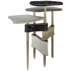 Metropolis 3-Top Side Table in Shagreen, Black Pen Shell and Brass by Kifu Paris