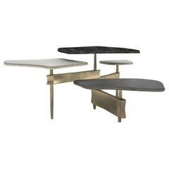Metropolis 4-Top Coffee Table in Shagreen, Black Pen Shell & Brass by Kifu Paris