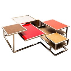Metropolis, Coffee Table with Tops and Shelves of Different Heights