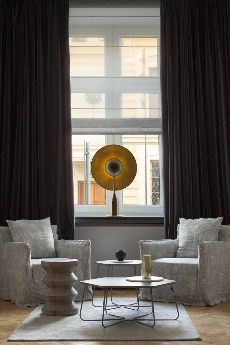 Metropolis Noir, Brass Limited Edition Table Lamp by Jan Garncarek For Sale 5