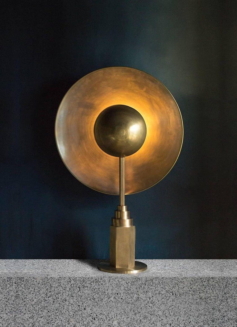 Metropolis Noir, Brass Limited Edition Table Lamp by Jan Garncarek For Sale 7