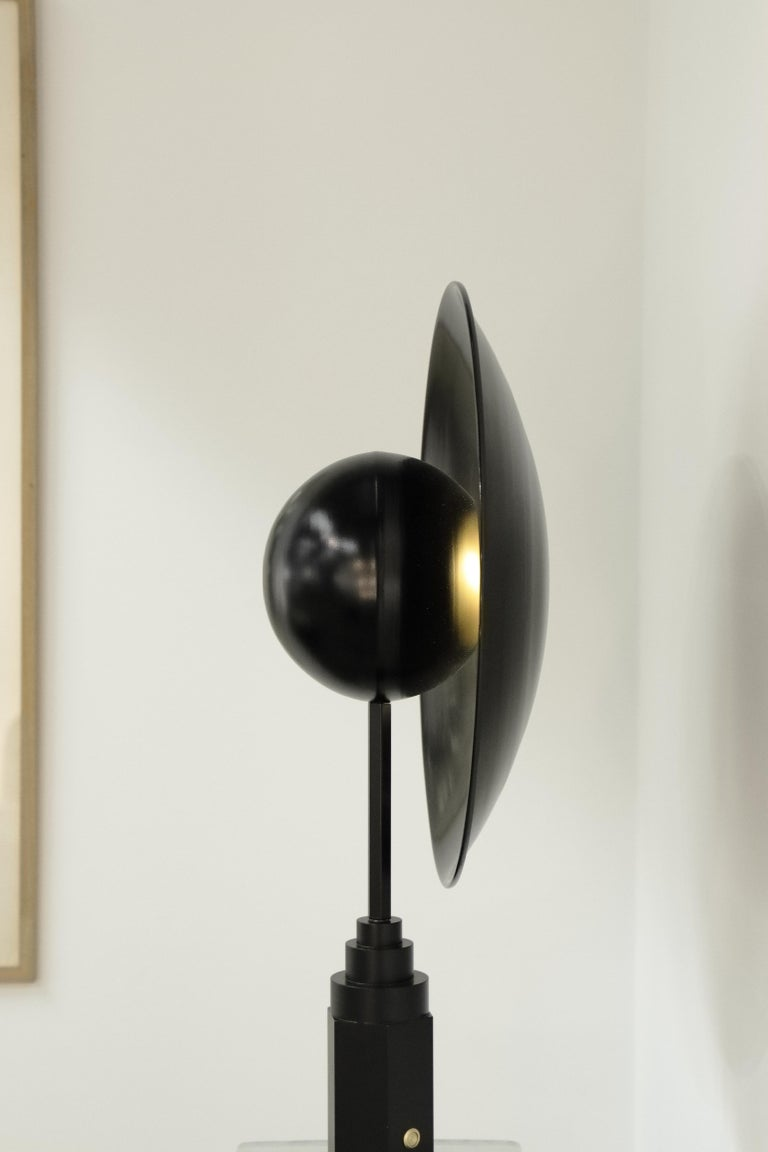 German Metropolis Noir, Brass Limited Edition Table Lamp by Jan Garncarek For Sale