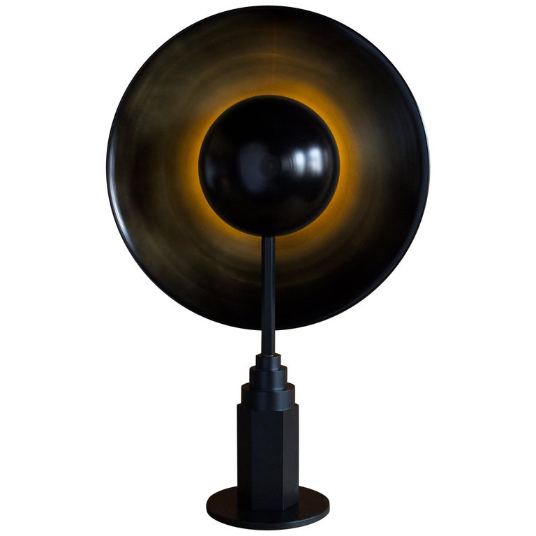 Metropolis Noir, Brass Limited Edition Table Lamp by Jan Garncarek For Sale