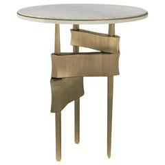 Metropolis Side Table in Cream Shagreen and Bronze-Patina Brass by Kifu Paris