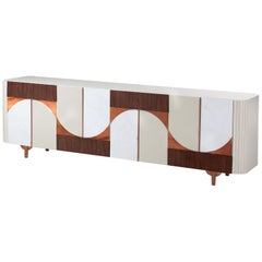 Sideboard Buffet with Marble, Copper and Walnut applications Metropolis