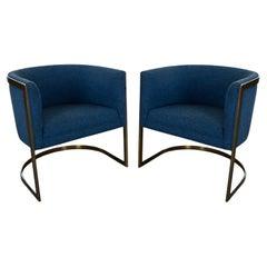Metropolitan Furn Modern Blue & Antique Brass Plate Tub Chairs by Jules Heumann