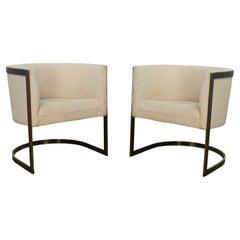 Metropolitan Furn Modern White & Antique Brass Plate Tub Chairs by Jules Heumann