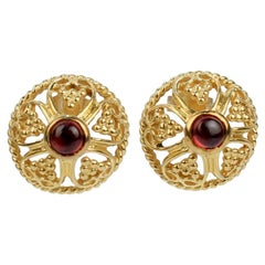 Metropolitan Museum of Art MMA 14 Karat Gold & Garnet Renaissance Style Earrings