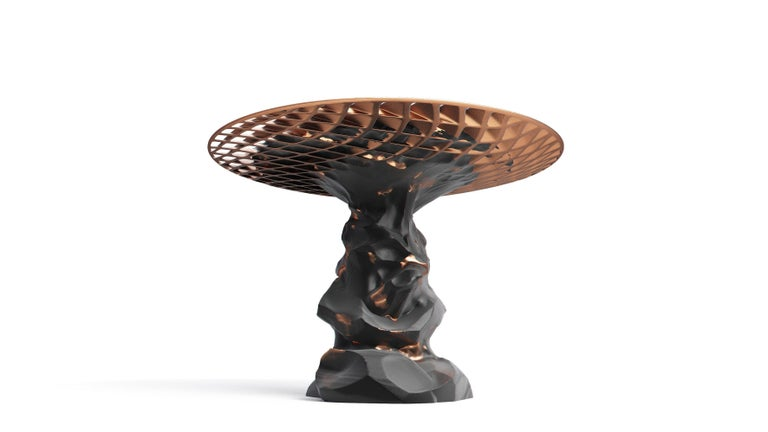 The Metsidian shelf and Metsidian side table are dynamic works that represent a moment in time, an eruption that melds two divergent materials together. The Prehistoric evolves into the futuristic as organic volcanic Obsidian transforms into clean,