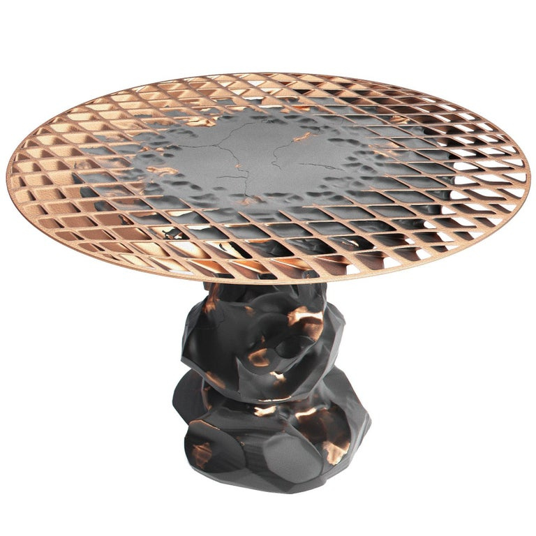 Metsidian Round Side Table/End Table in Obsidian and Copper Finish on Top For Sale