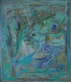 """Turquoise symphony with birds"", Danish contemporary painting by Mette Birckner"