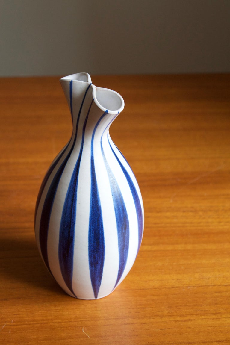 Swedish Mette Doller, Vase, Hand Painted Stoneware, Andersson & Johansson Höganäs, 1960s For Sale