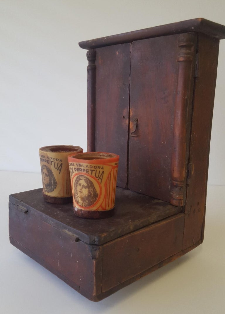Wood Mexican 20th Century Spanish Colonial Personal Christian Altar and Donation Box For Sale