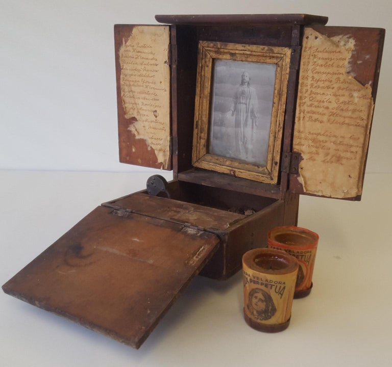 Mexican 20th Century Spanish Colonial Personal Christian Altar and Donation Box For Sale 2