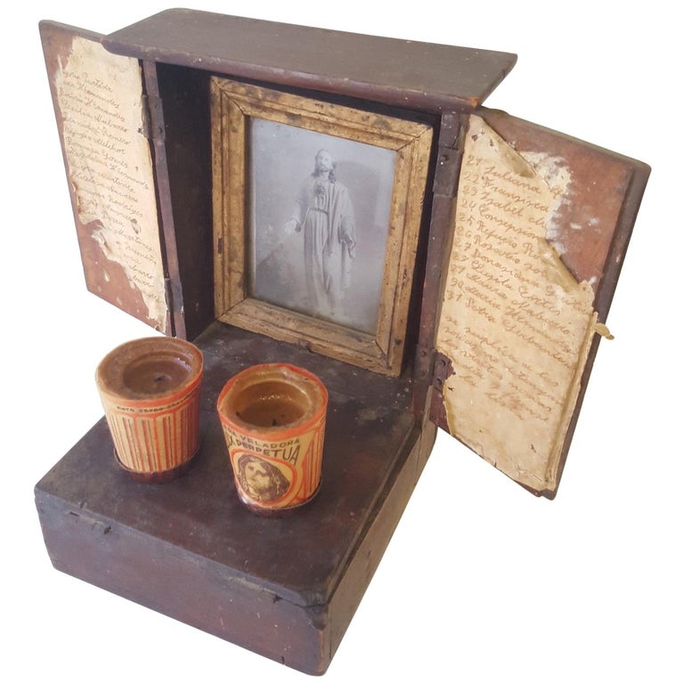 Mexican 20th Century Spanish Colonial Personal Christian Altar and Donation Box For Sale