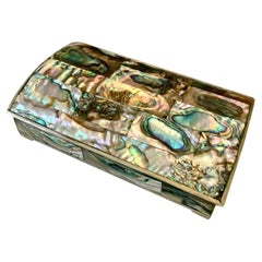 Mexican Abalone and Brass Box with Wood Liner