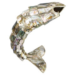 Mexican Abalone Articulated Mother of Pearl Fish 1970s Opener Los Castillo