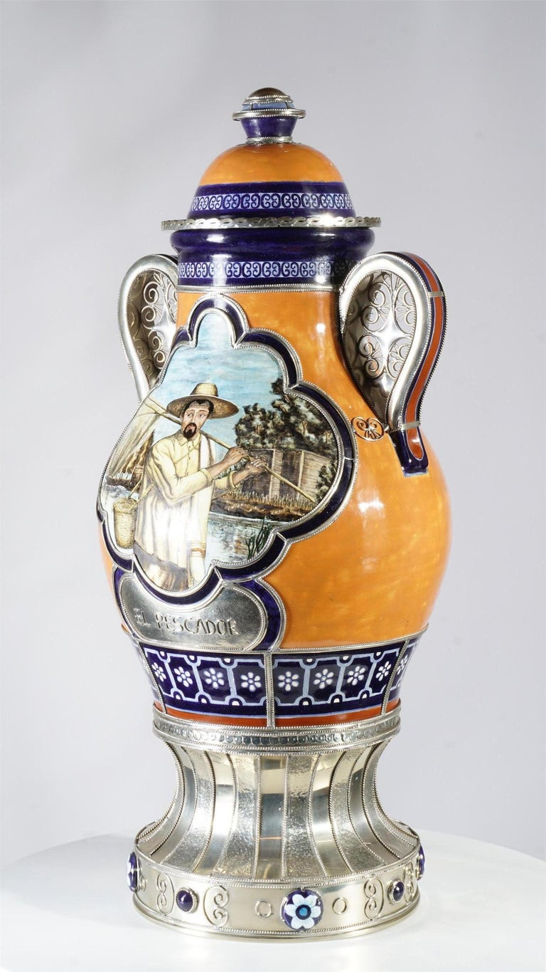 Glazed Mexican Air of Jars, Ceramic and White Metal 'Alpaca', Handmade For Sale