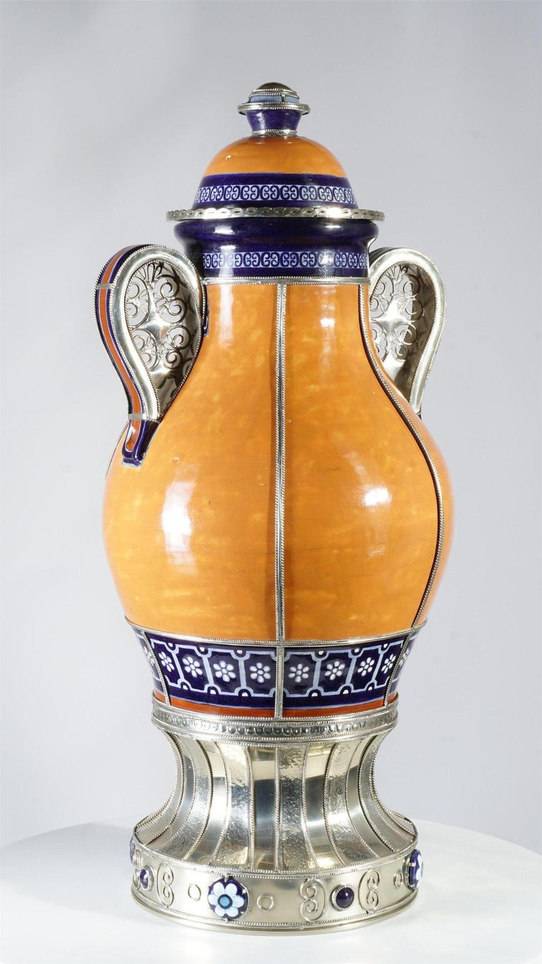 Mexican Air of Jars, Ceramic and White Metal 'Alpaca', Handmade In New Condition For Sale In Guadalajara, Jalisco