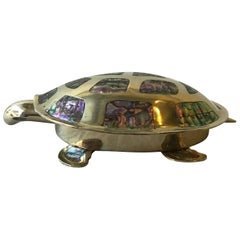 Mexican Alpaca Silver Plate Turtle Box with Mother of Pearl