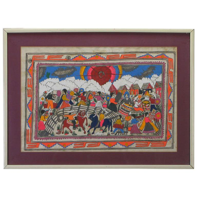 Mexican Amate Hand Painted Folk Art Painting