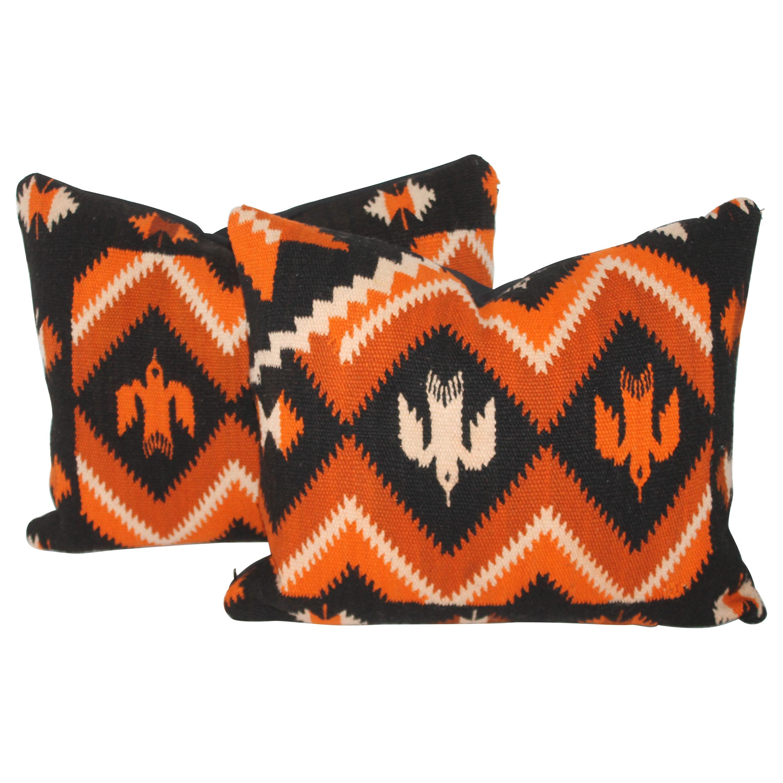 Mexican / American Indian Weaving Birds Pillows, Pair
