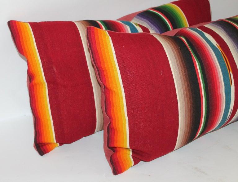 Adirondack Mexican /American Serape Bolster Pillows, Pair For Sale