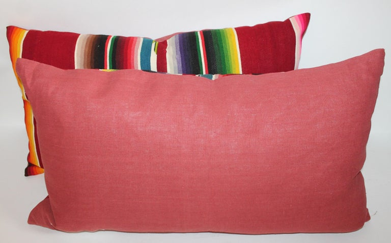 Hand-Woven Mexican /American Serape Bolster Pillows, Pair For Sale