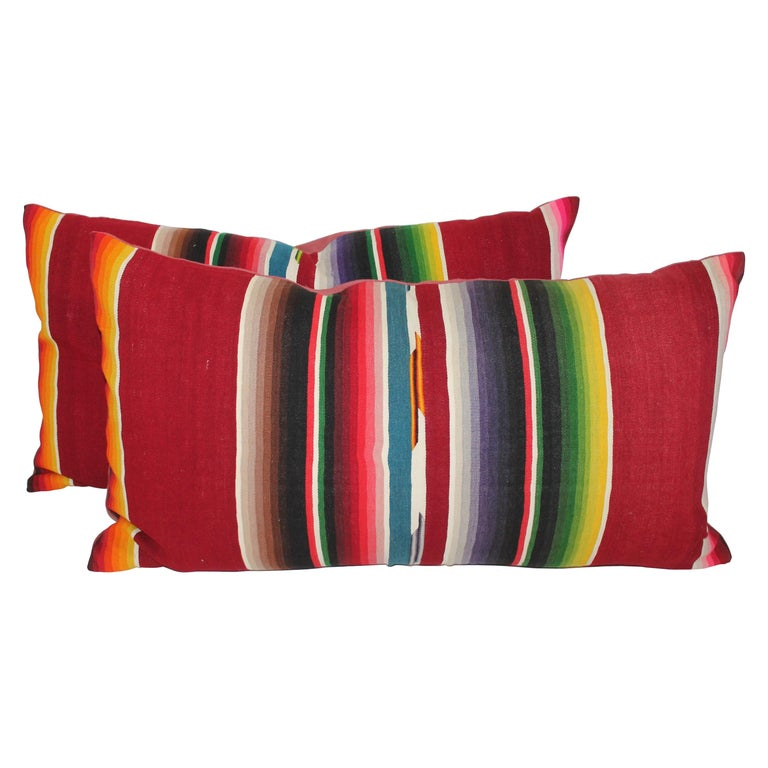 Mexican /American Serape Bolster Pillows, Pair For Sale