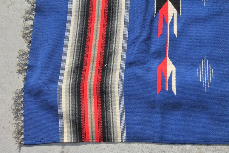 This fine Mexican / American serape weaving is in pristine condition and wonderful unusual colors. The fringe is very good too.