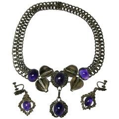 Mexican Amethyst Necklace Earrings Suite Sterling Silver Mid-Century Modern
