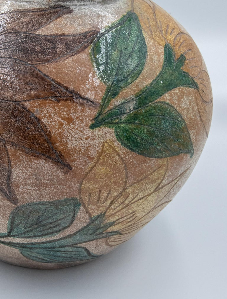 Hand-Crafted Mexican Antique Dolores Porras Clay Pottery Folk Art Flower Vessel Vase For Sale