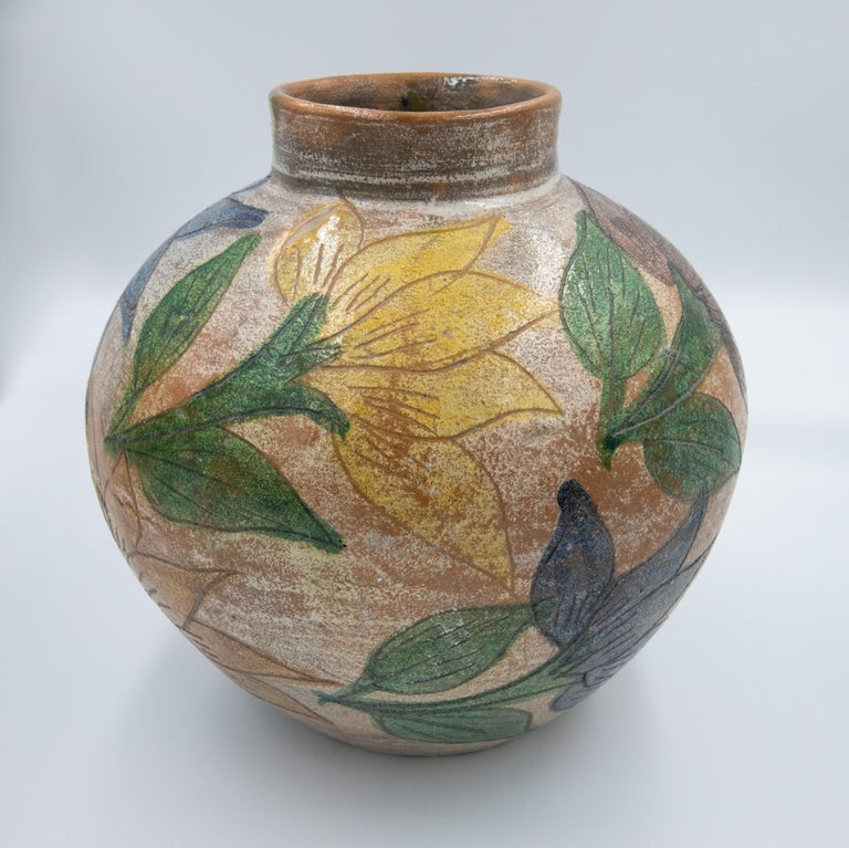 Terracotta Mexican Antique Dolores Porras Clay Pottery Folk Art Flower Vessel Vase For Sale