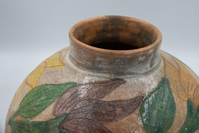 Mexican Antique Dolores Porras Clay Pottery Folk Art Flower Vessel Vase For Sale 1