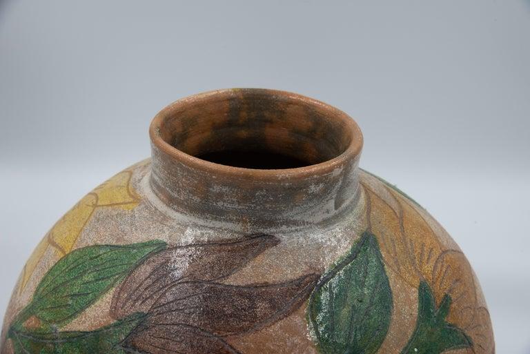 Mexican Antique Dolores Porras Clay Pottery Folk Art Flower Vessel Vase For Sale 2