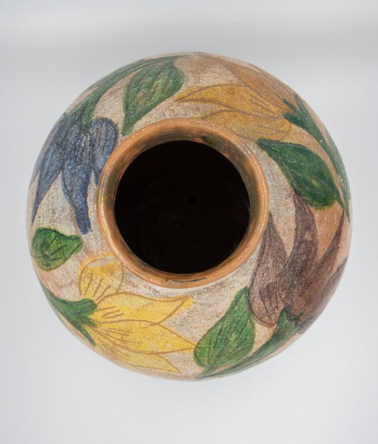 Mexican Antique Dolores Porras Clay Pottery Folk Art Flower Vessel Vase For Sale 3