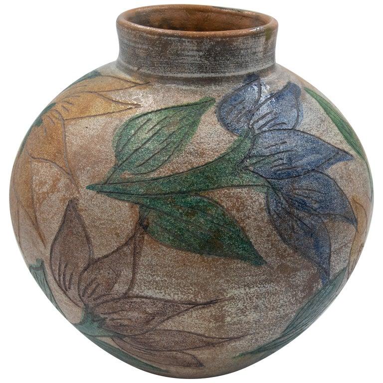 Mexican Antique Dolores Porras Clay Pottery Folk Art Flower Vessel Vase For Sale