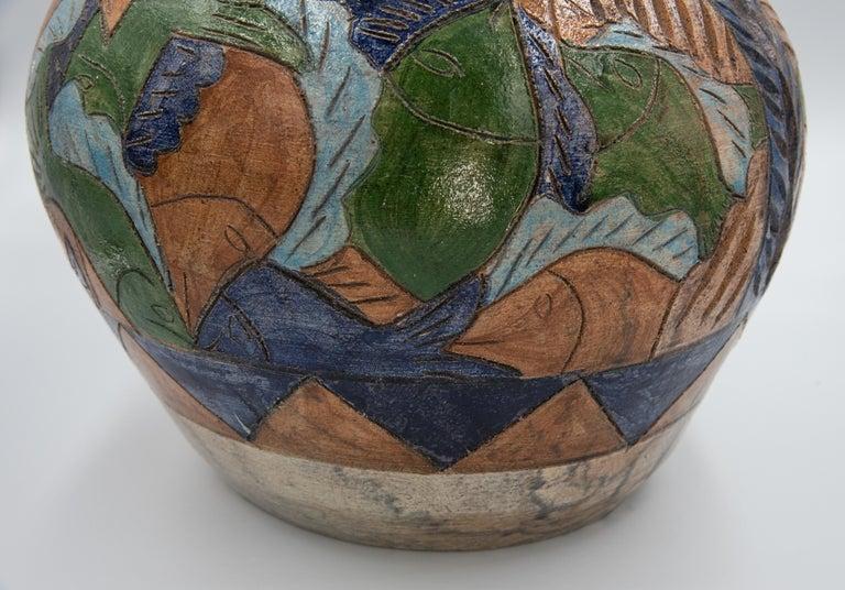Mexican Antique Dolores Porras Clay Pottery Folk Art Terracotta Fish Vessel Vase For Sale 5