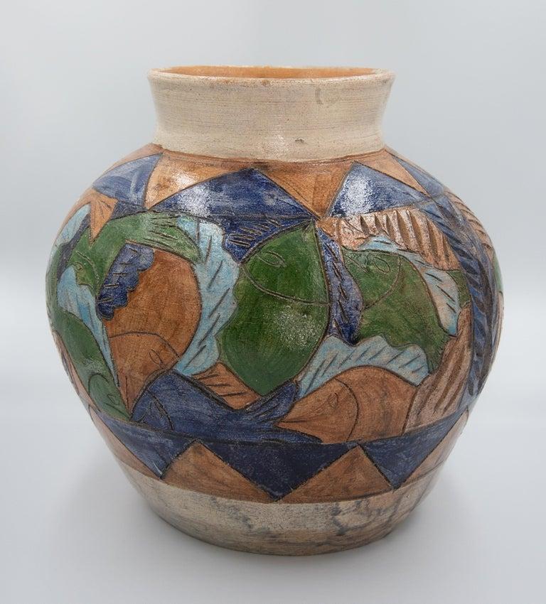 Mexican Antique Dolores Porras Clay Pottery Folk Art Terracotta Fish Vessel Vase For Sale 6