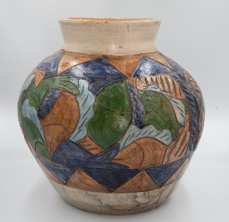 Mexican Antique Dolores Porras Clay Pottery Folk Art Terracotta Fish Vessel Vase For Sale 7