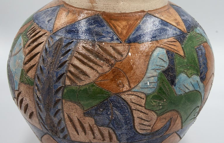 Mexican Antique Dolores Porras Clay Pottery Folk Art Terracotta Fish Vessel Vase In Excellent Condition For Sale In Queretaro, Queretaro