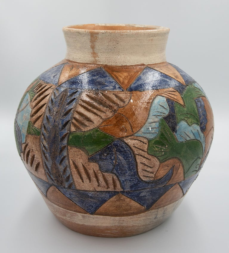 Late 20th Century Mexican Antique Dolores Porras Clay Pottery Folk Art Terracotta Fish Vessel Vase For Sale