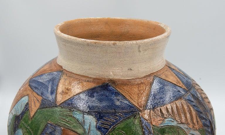 Mexican Antique Dolores Porras Clay Pottery Folk Art Terracotta Fish Vessel Vase For Sale 3